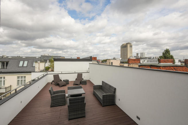Roof terrace with city views