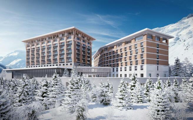 CGI external façade of the Gotthard Residences in the snow