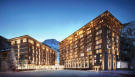 CGI external façade of the Gotthard Residences at dusk