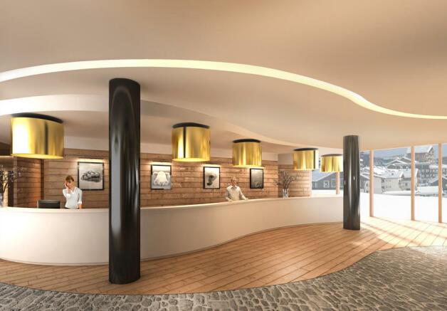 Reception CGI at the Gotthard Residences