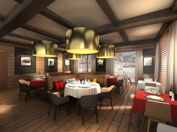Restaurant CGI at the Gotthard Residences
