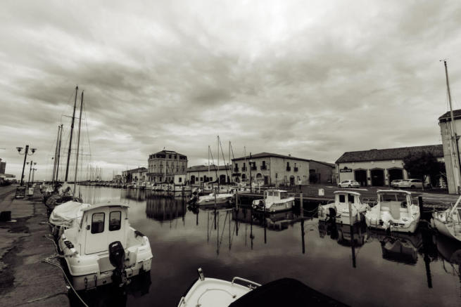 Marseillan port with moody skies