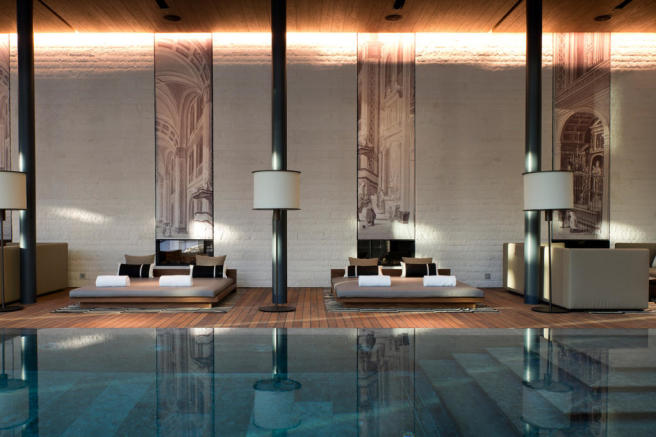 The Chedi Andermatt Hotel Indoor Pool and Lounges