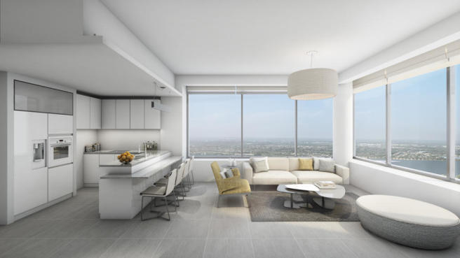 Modern style Living Room - West Corner Apt - at The Terrases