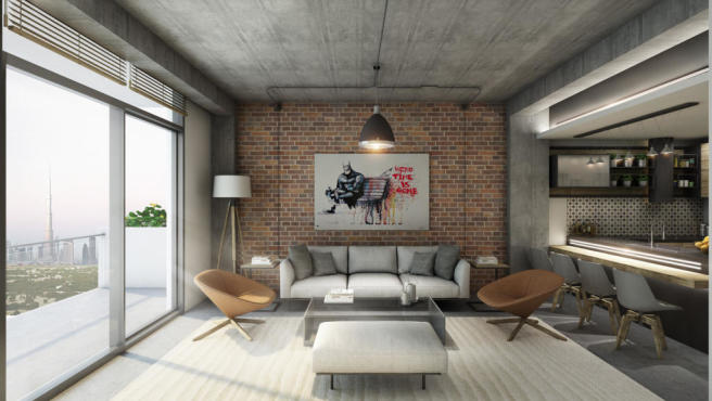 Modern style Living Room - corner apt west side at The Terrases