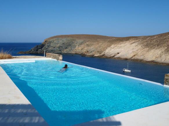 Swimming pool sun ocean sea view Fokos Mykonos