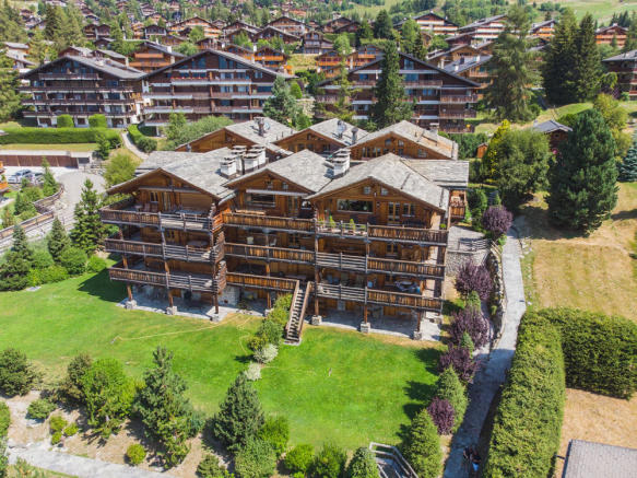 Aerial view of chalet apartment building