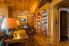 Writing desk and library shelves