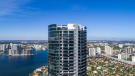 Aerial view of top section of the Porsche Design Tower in Miami