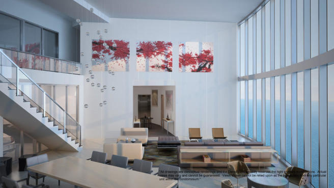 Penthouse double height living room at the Porsche Design Tower in Miami