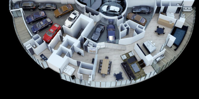Penthouse first floor 3D section at the Porsche Design Tower in Miami