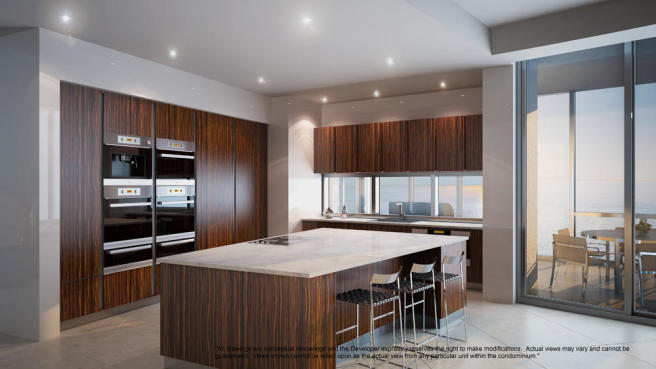 Penthouse kitchen at the Porsche Design Tower in Miami