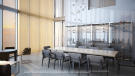 Penthouse dining area & wine chiller at the Porsche Design Tower in Miami