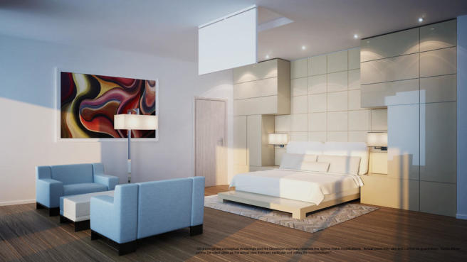 Penthouse bedroom at the Porsche Design Tower in Miami