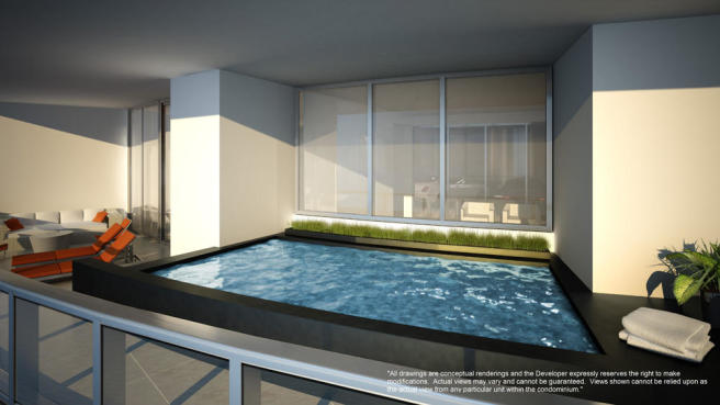 Penthouse terrace plunge pool at the Porsche Design Tower in Miami