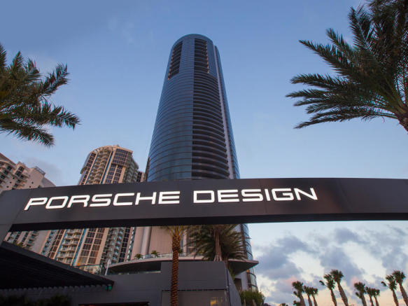 Porsche Design Tower in Miami - entrance with sign
