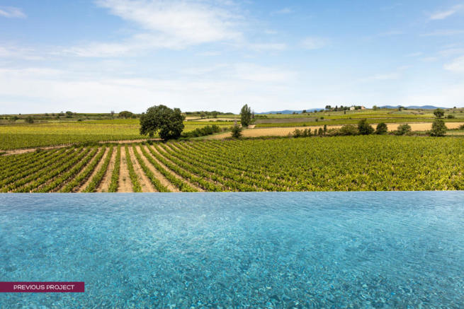 Infinity pool view over vines at previous project