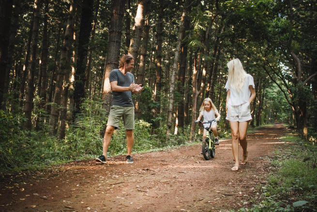 Learning to cycle in the woods - Arokaria Luxury Villas Mauritius