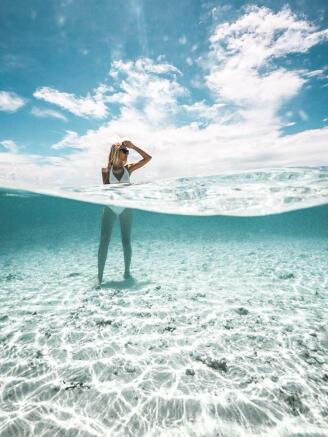 Woman in the sea - Arokaria Luxury Villas Mauritius