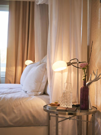 Close up of bedside table lamps in guest bedroom of a 5-bed luxury villa in Mougins, France