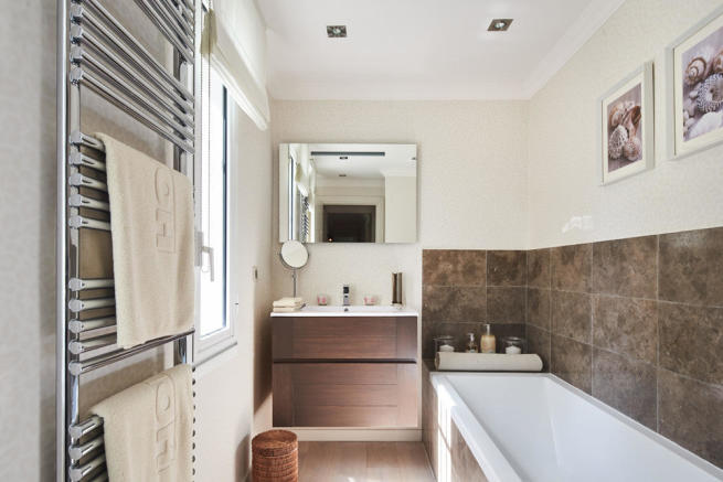 Guest bathroom on ground floor of 5-bed villa in Mougins, France