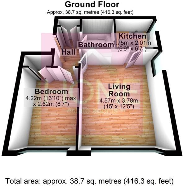 3D Floorplan Flat 3, 16A Wilbraham Road, Mancheste