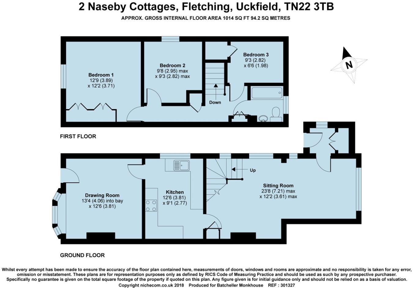3 bedroom semi-detached house for sale in Naseby Cottages, Fletching ...