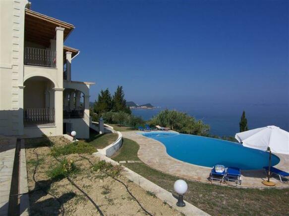 Villa, pool and sea