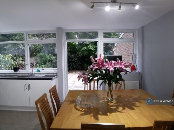 Dining Area Backing On To Large Garden