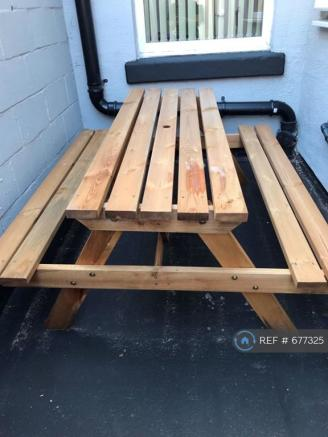 Picnic Table And Benches In Private Rear Yard