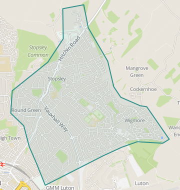 map of stopsley luton bedfordshire